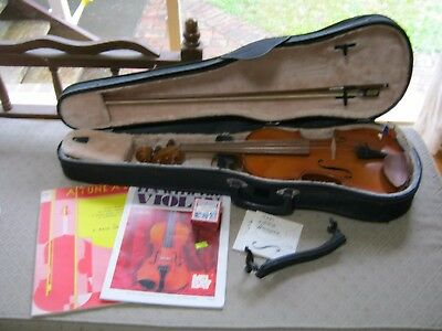 Violin with Hard Case, Bow, Method Books, Chin Rest, Rosin. VGC