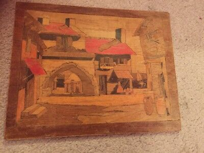 Vintage Hand Inlaid Made House Village Scene Wood Mosaic [Wooden panel]