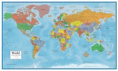 World map poster print 36x24 wall home art school decor 899 world map classic huge large laminated wall map poster home office school 24x36 gumiabroncs Choice Image