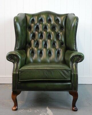 Green Leather Chesterfield Wingback Armchair - Antique Style