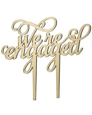 We're Engaged - Acrylic Engagement Cake Topper - Mirror Gold