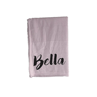 Personalised Baby Blanket - Girl Blanket Pink Black Modern Text