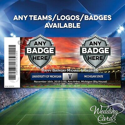 Personalised Football Match Derby Ticket Birthday Celebration Present Gift Cards