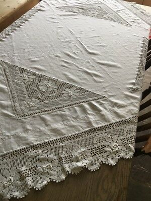 Original Vintage White Cotton Embroidered Tablecloth Beautiful Condition
