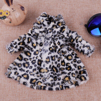 Fashion Doll Clothes Long Leopard Plush Coat Dress for Barbie Doll Winter Wear