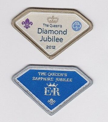 2x SCOUT & GUIDE QUEEN'S JUBILEE BADGES: Diamond (60 yrs) & Sapphire (65 yrs) UK