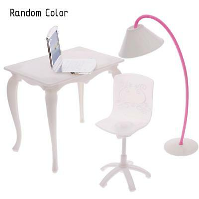 Barbie Doll Play House Doll Furniture Desk Lamp Laptop Chair Accessories US
