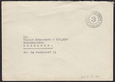 Switzerland WW2 Feldpost Air Force cover, to Lausanne