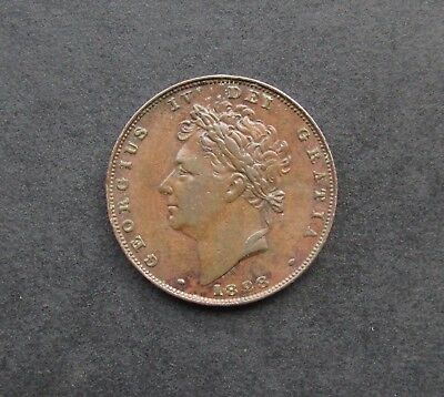George Iv 1828 Copper Bare Head Farthing