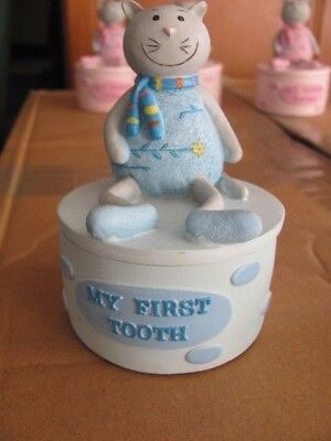 TEDDY BEAR TRINKET BOXES - MY 1st TOOTH-CURL-BRACELET BOX - BLUE FOR BABY BOYS