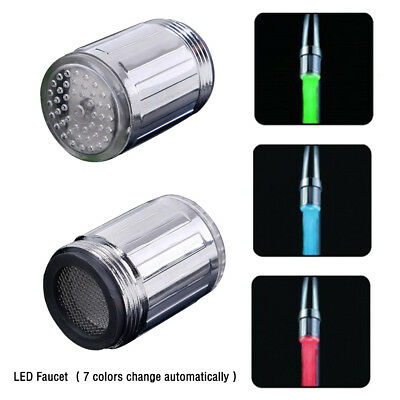 7Color Auto Changing Glow LED Shower Tap Faucet Nozzle Head W/Adapter NEW