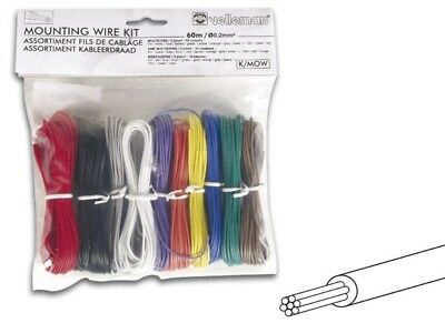 Velleman 10 Color Stranded Hook-Up Wire Kit 24 AWG Gauge Set Assortment