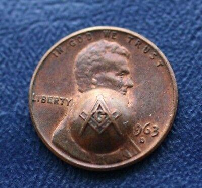 Masonic Stamped 1963D Lincoln Cent in EXCELLENT Condition VERY NICE Collectible