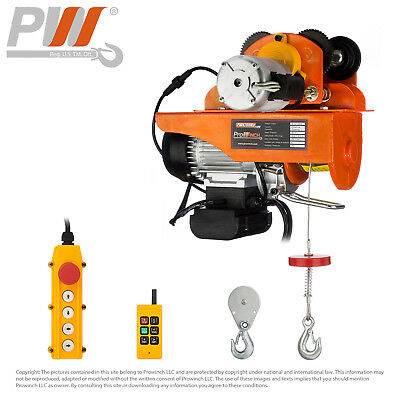 Electric Wire Rope Hoist w/ Trolley 220 lbs / 440 lbs 110-120V Wireless Control