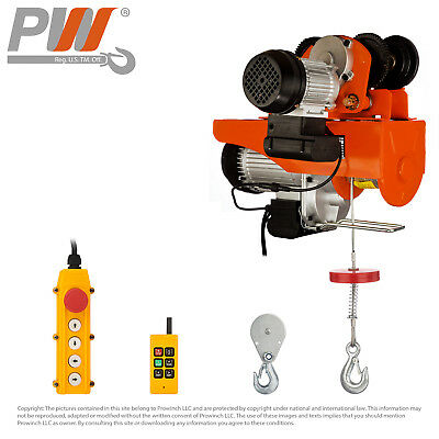 PROWINCH 1100 / 2200 lbs Electric Rope Hoist w/trolley 110-120V Wireless Control