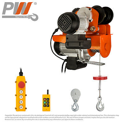 PROWINCH 550 lbs / 1100 Electric Rope Hoist w/ trolley 110V Wireless Control