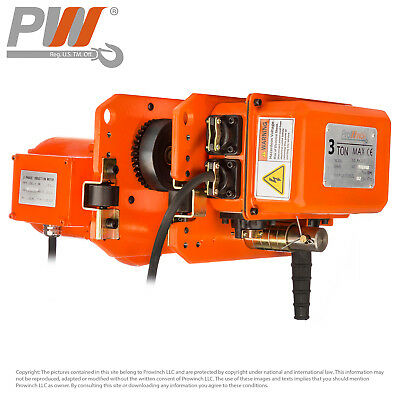 6600 lbs 3 Tons. Power Trolley 3 Phase Prowinch PWQE3T 3 Year Warranty