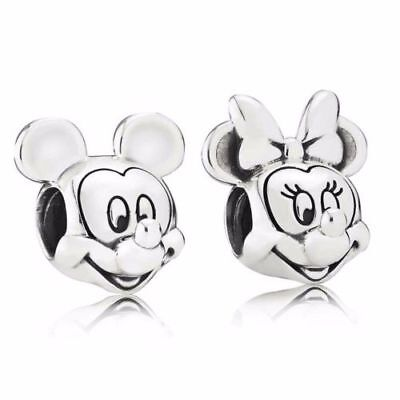 PANDORA Bracelet Charms Disney Mickey Minnie Twin Pack Stamped Pandora S925 ALE