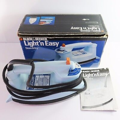 Vintage Black & Decker Light n Easy Steam Dry Electric Iron, FL379