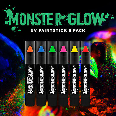 Monster Glow UV Neon Face & Body Paint Stick (6 Pack) face paint