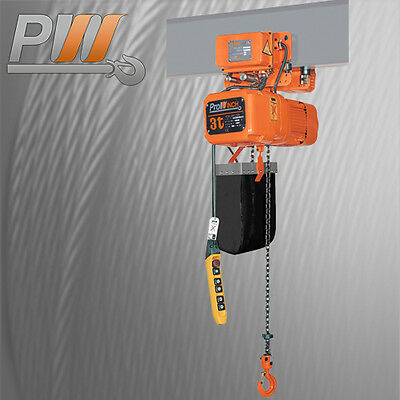 6,600 lbs. 3 Ton. 30ft Lift Height Electric Chain Hoist Power Trolley FEC JAPAN