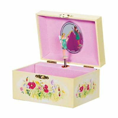 Girls Musical Butterfly Fairy Theme Jewellery Box With Rotating Ballerina Figure
