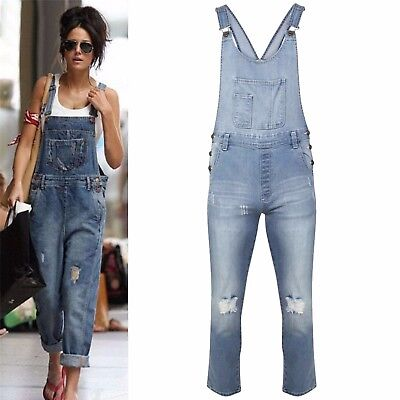 Womens Ladies Celeb Denim Ripped Jeans Full Pinafore All InOne Jumpsuit Dungaree