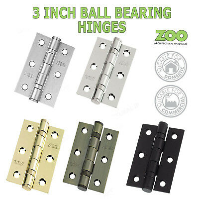 "Ball Bearing Door Hinges 3"" And 4"" Pair  Steel Butt + Screws Domestic Commercial"