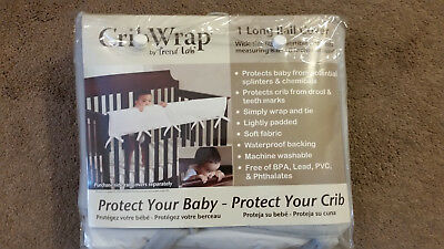 Crib Wrap By Trend Lab 1 Long Rail Cover For Convertible Cribs, Wide Gray NEW