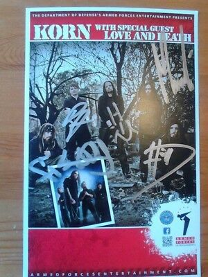 KORN signed Autogramm rar Konzert Armed Forces with Love and Death