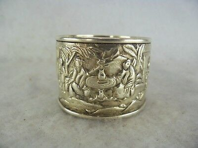 Quality Ornate Chinese Export c.1860 Solid Silver Napkin Ring EH