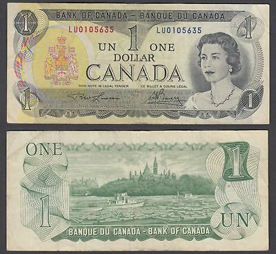 Canada 1 Dollar 1973 (VF) Condition Banknote Lawson-Bouey QEII KM #85 (LU)