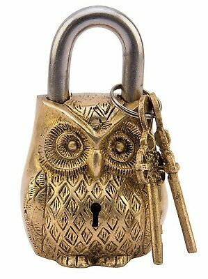 ANTIQUE Style OWL Type Padlock - Lock with Key - Brass Made (5050)