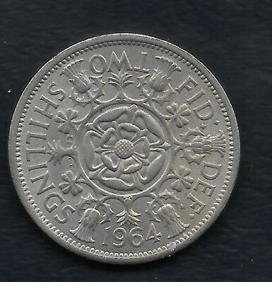 Great Britain Florin, Two Shillings, 1964 Great Date and Detail