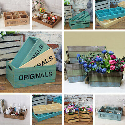 Vintage Style Wooden Storage Boxes Planter Crates Jewellery Organisers Tidy Tray