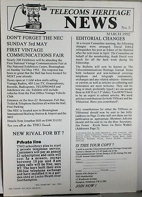 Telecom Heritage News - Issue No 3 - March 1992 - 6 pages
