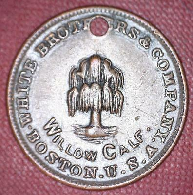 Circa 1890 Boston White Brothers Willow Calf Shoes Token Die Variety 9/8 - #7547