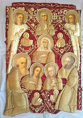 Antique Russian Orthodox Icon Gold-Embroidery 19th century.