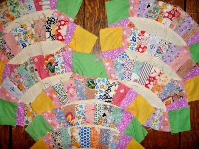 Vintage Lot of 9 DOUBLE WEDDING RING Quilt Blocks