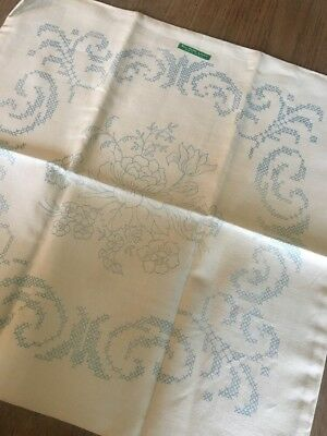 VINTAGE HAND EMBROIDERED LINEN Cushion Cover - Flower Transfer X 1