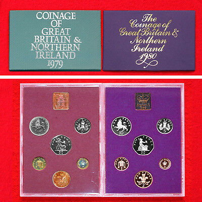 Coinage Of Great Britain & Northern Ireland Proof Sets 1979 & 80 (2 Sets) + Box