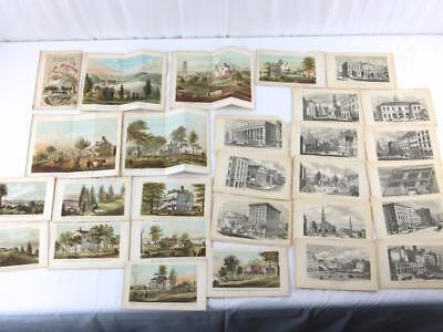27 Antique 1866 Hand-Colored Engravings New York City D.T. Valentine Plates Maps