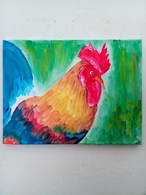 8x12 acrylic wrapped canvas rooster original painting