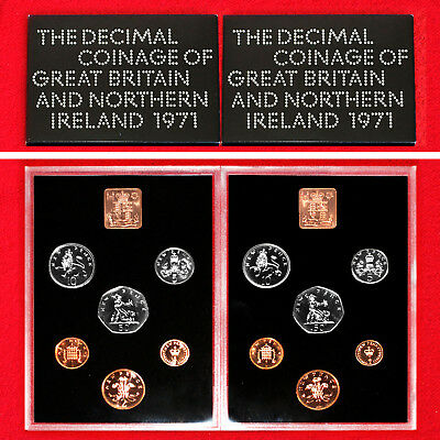 1971 Coinage Of Great Britain & Northern Ireland Proof Sets (2 Sets) + Box