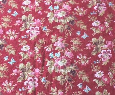 Antique French Country Roses & Floral Printed Cotton Yardage c1870~Turkey Red