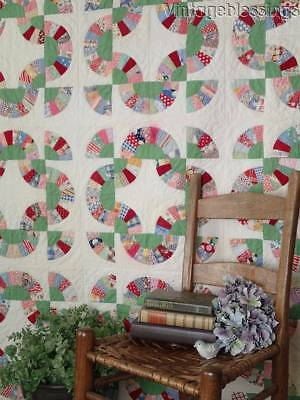 Fabulous Vintage 30s Feedsack Baby Bunting QUILT Red & Green 81x64