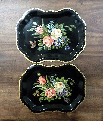 12 Hand-Painted Black Lacquered Metal Trays - Floral Designs - 2 Sizes