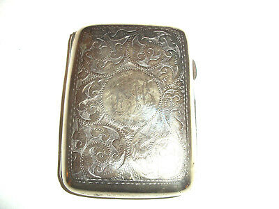 antique silver plated cigarette case dated 1904