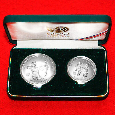1988 Seoul Olympic(2 Coins).925 Silver Proof Set 1000 Won Archery & Shuttlecock