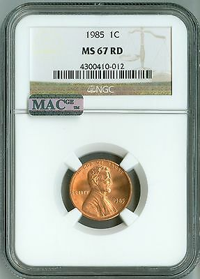 1985 CENT NGC MS67 RD MAC PQ, PENNY 1c - BUSINESS, CHERRY RED COLOR!